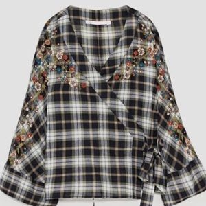Zara plaid blouse top with embroidered flowers